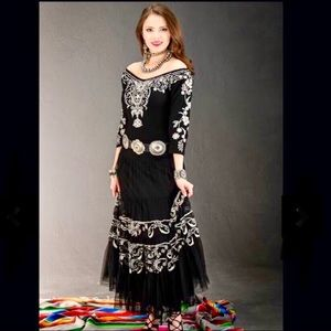 NWT Vintage Collection Long Embroidered Dress